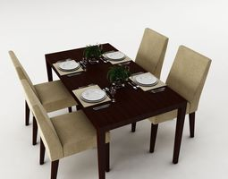 Dining Table Set 3D Model Living