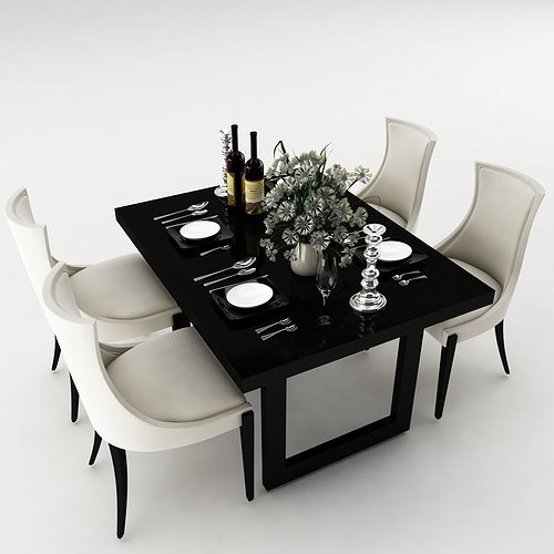 Dining table set 3d furniture cgtrader for Dining room table 3ds max