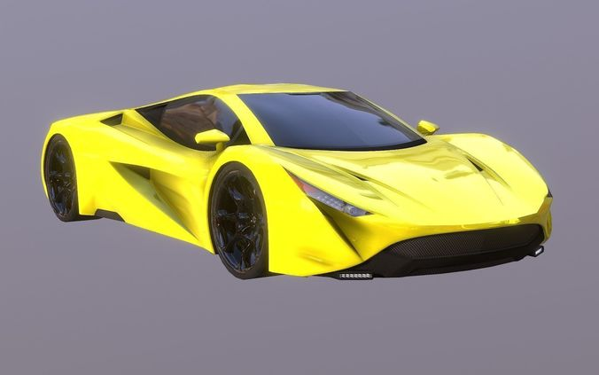 yellow super sport car prototype 2018 3d model obj mtl 3ds fbx stl blend dae 1