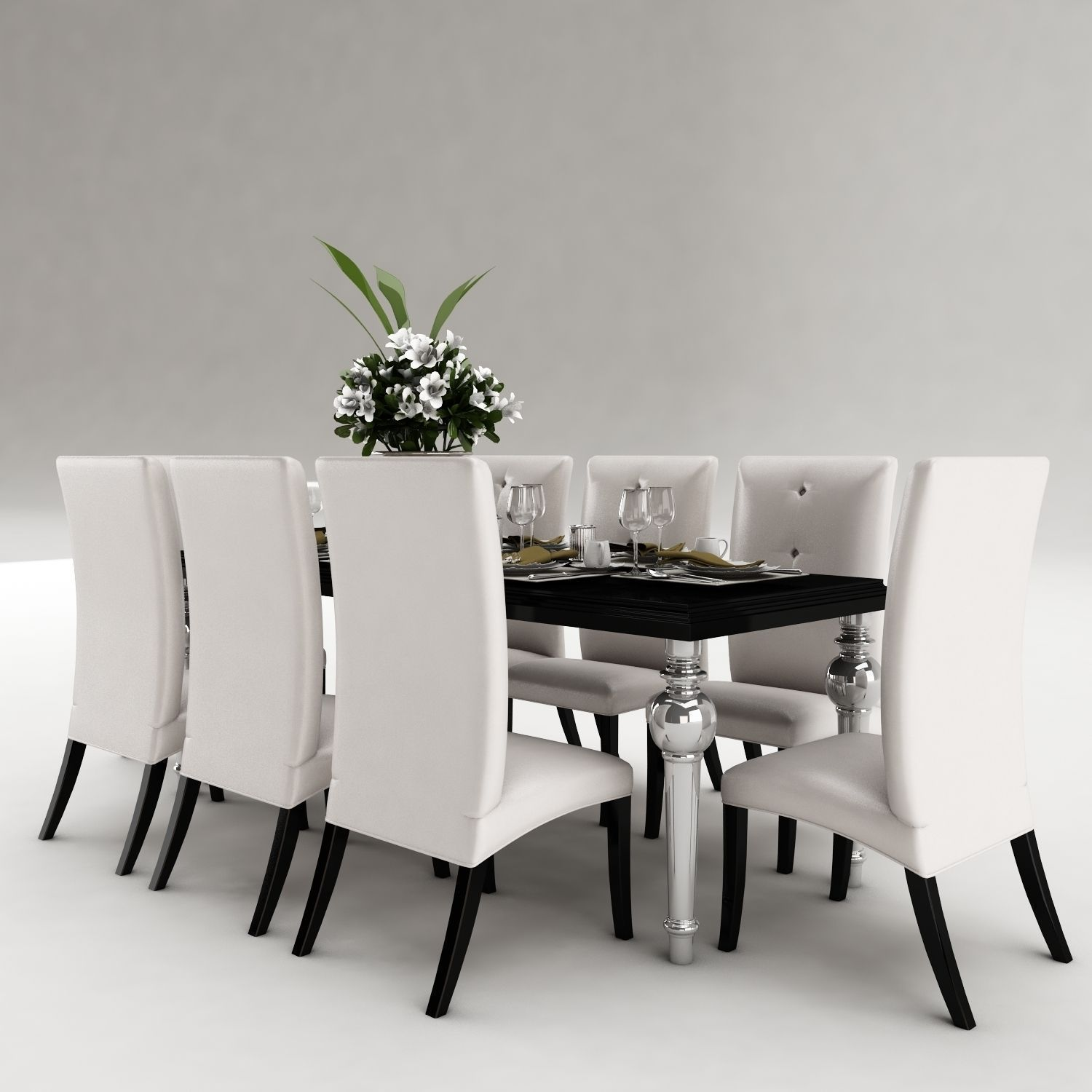 Dining table set 36 3d model max obj 3ds fbx mtl for Dining room table 3ds max