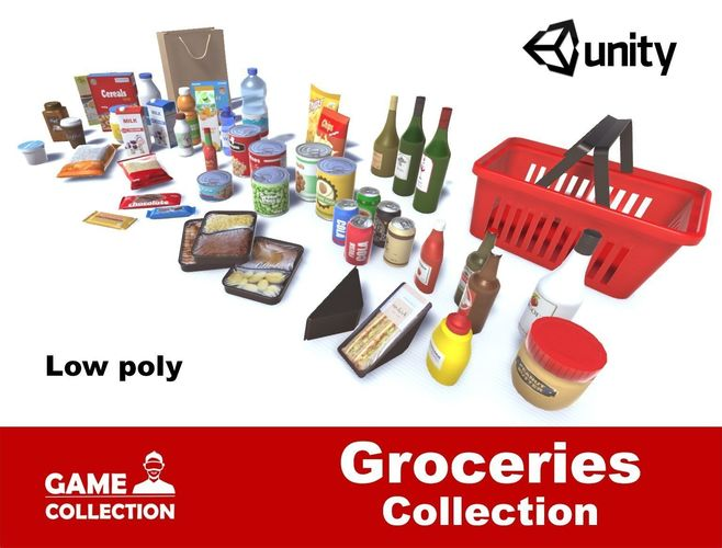 groceries collection 3d model low-poly fbx unitypackage prefab 1