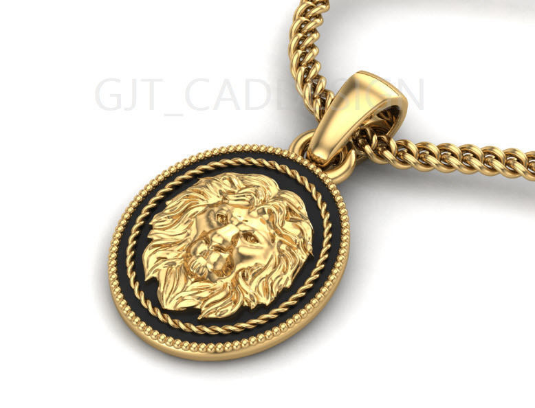 3d Print Model Mens Stainless Steel Necklace Lion He