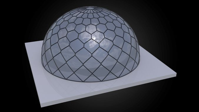 dome hexagonal grid triangles to hexagon pattern structure 3d model obj mtl 3ds fbx dxf stl dae 1