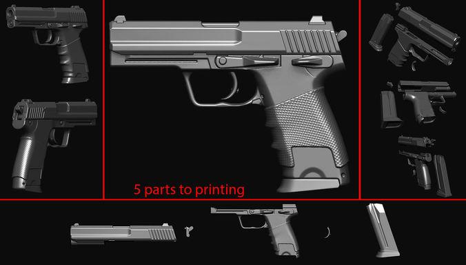 gun 14 3d model obj mtl stl ztl wrl wrz 1