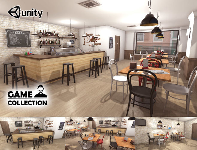 cafe interior 3d model low-poly fbx unitypackage prefab 1