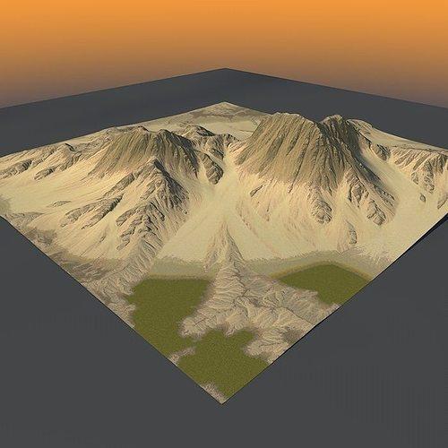 lowpoly mountain x2 3d model max obj mtl 3ds fbx c4d lwo lw lws 1
