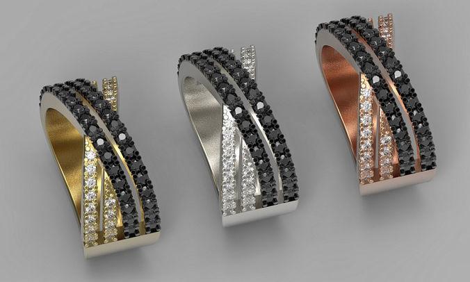x cross diamond ring 3d print  model for 3d printer  3d model obj mtl fbx stl 3dm 1