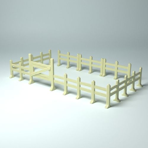 game props - modular fences and gate 3d model obj mtl stl wrl wrz 1