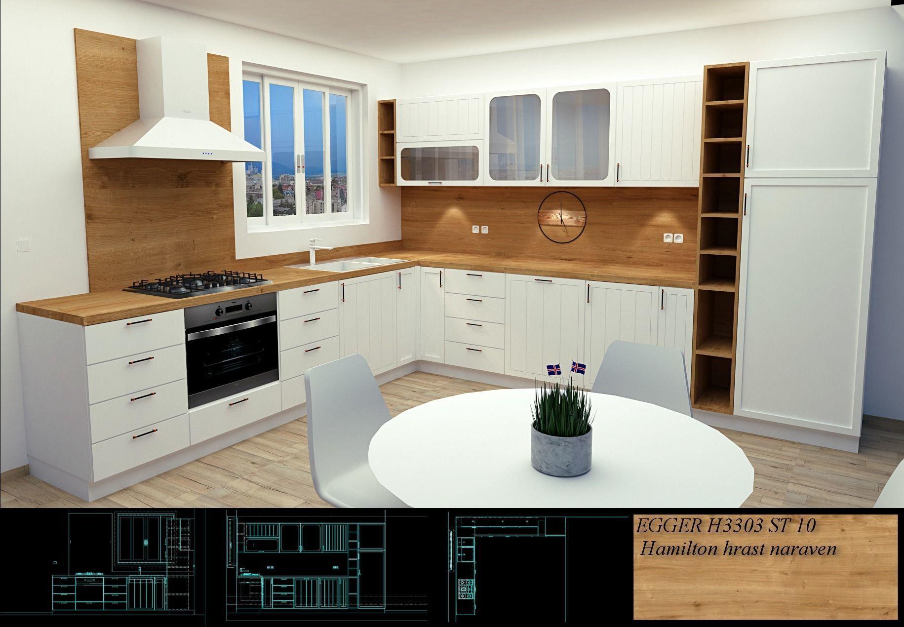 Scandinavian style kitchen modern design | 3D model