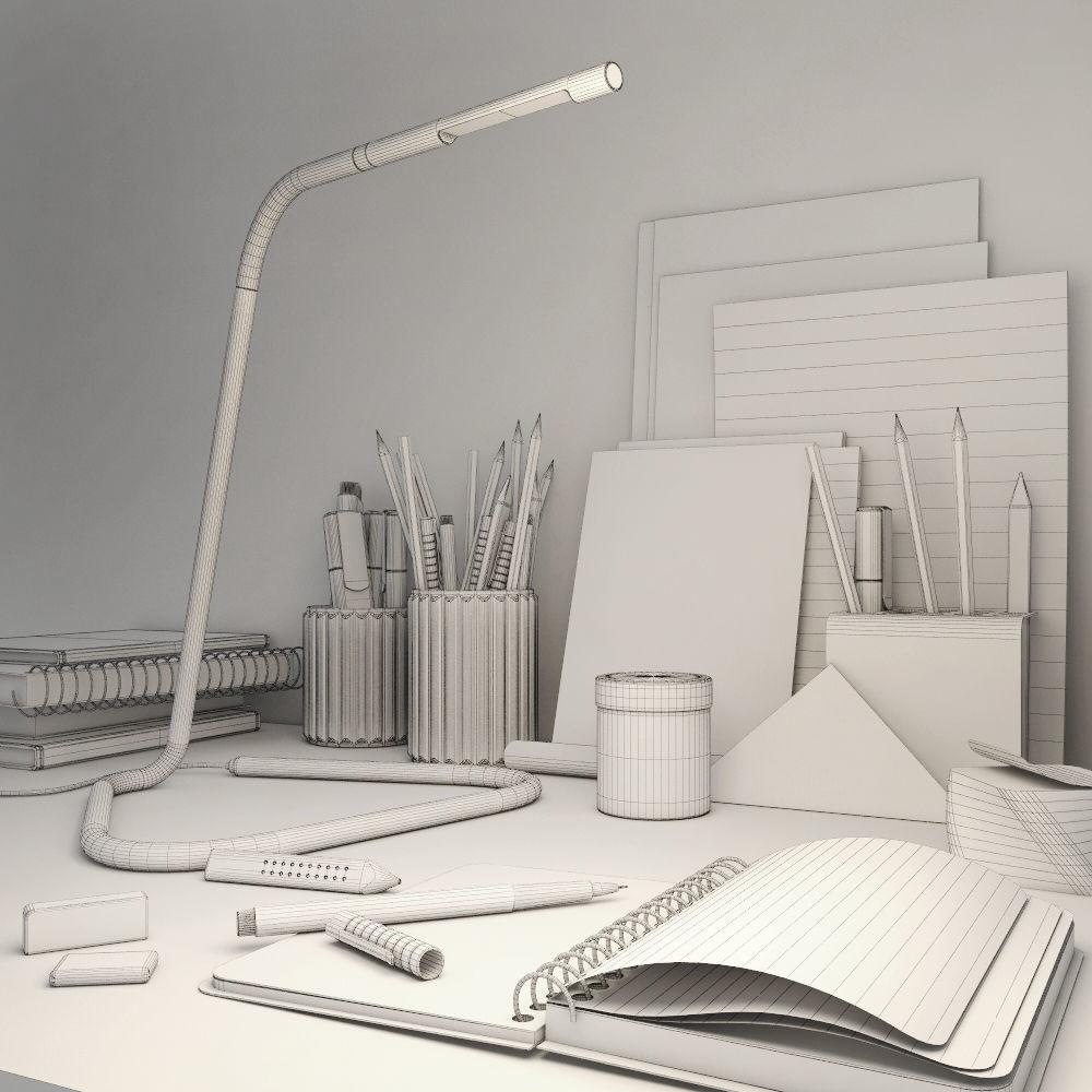 decorative office supplies. Decorative Set Of The Office Supplies 3d Model Max 3ds Fbx 5 D