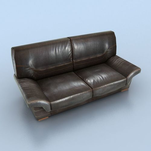 two-seat leather couch 3d model low-poly fbx unitypackage prefab mat 1