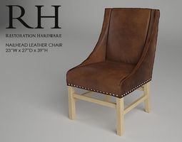 3d model restoration hardware nailhead leather chair