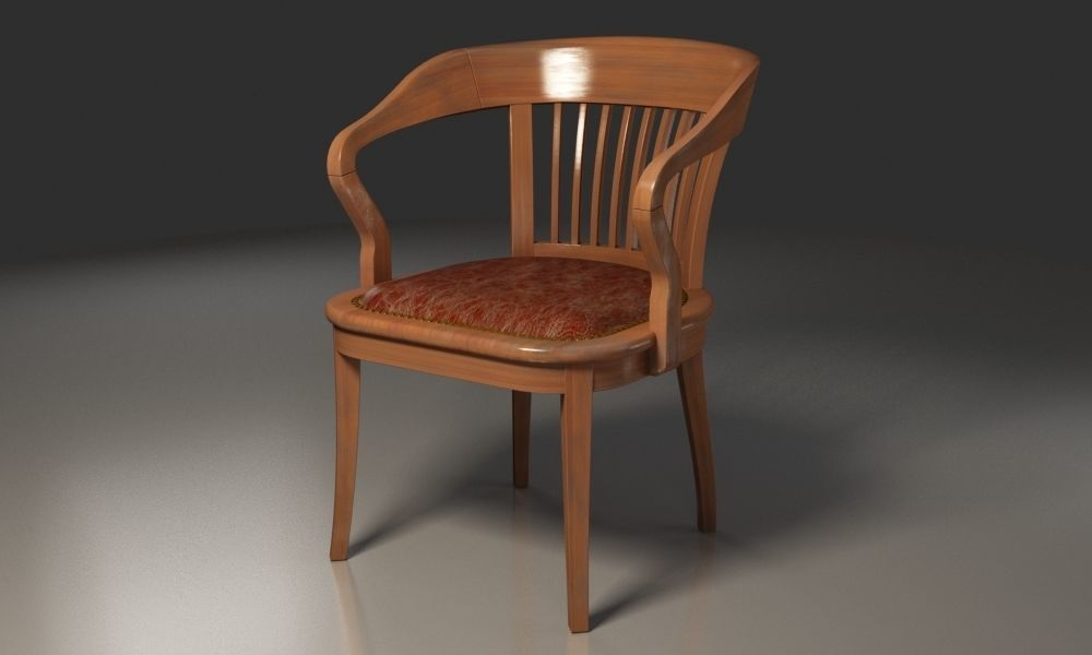 Antique Wooden Chairs >> Antique Wooden Chair With Sleeves Barred Backrest 3d Model