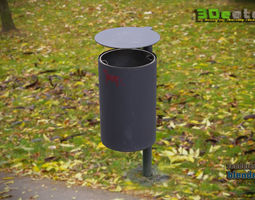 3D modern low poly PBR trash bin game-ready