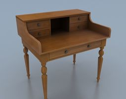 Writing Desk 3D asset game-ready