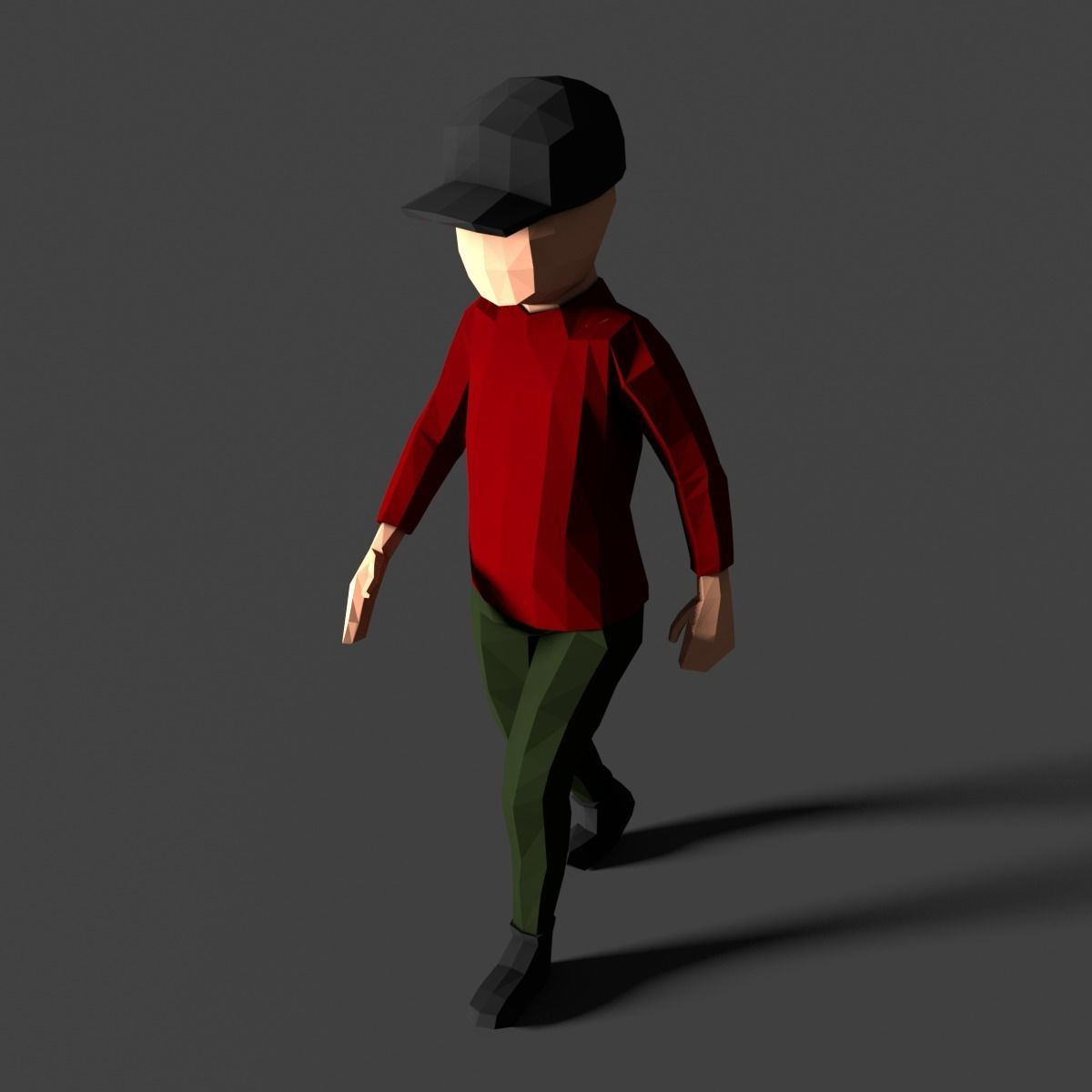Low Poly Boy in Red Shirt Character