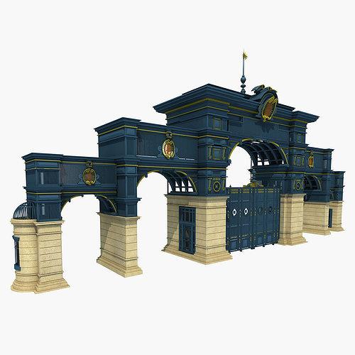 iron art classical gate 3d model max 3ds fbx 1