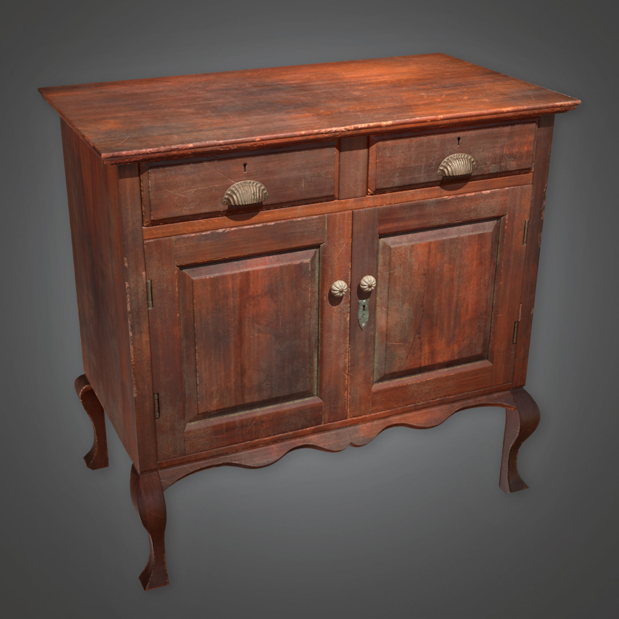 ATT - Wooden Cabinet Antiques 02 - PBR Game Ready
