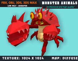 3D model Low Poly Rabbit Monster 38 Animated - Game Ready