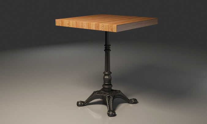 3d Model Wooden Table With Metal Legs Coffee Table