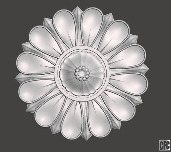flower bas-relief for cnc flcfc0b 3d model obj mtl stl 1