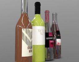 3D asset Wine Bottles