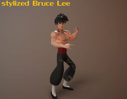 Bruce Lee stylized 3D asset animated