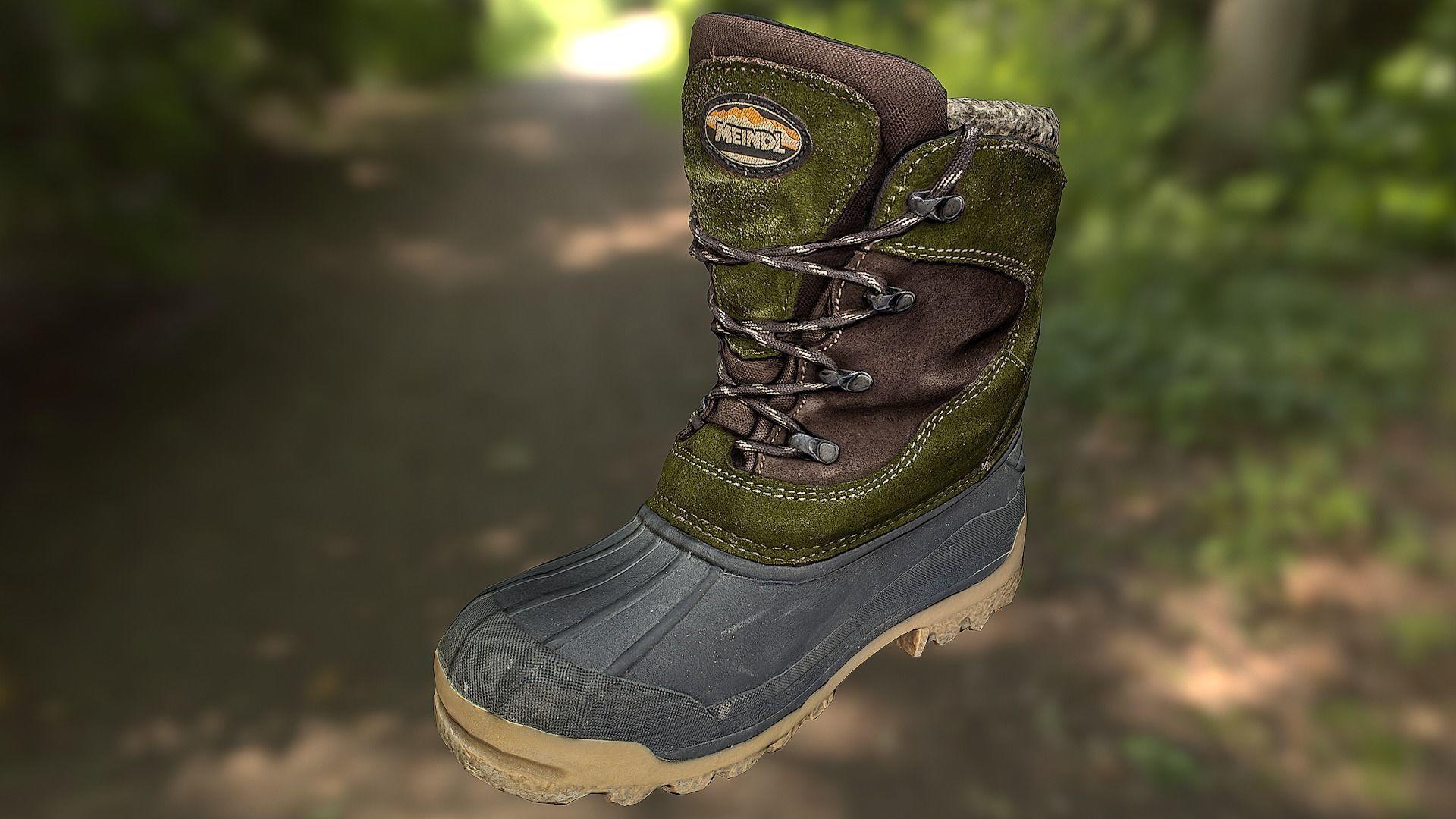 Boot shoe 3D model low poly footwear