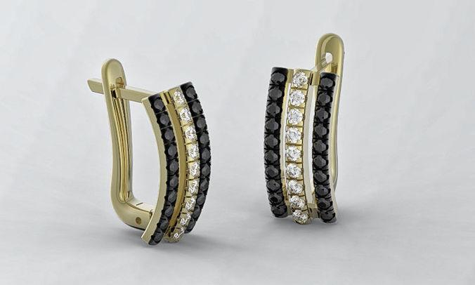 earrings 3d print model three strips earring stl 3dm file 3d model obj mtl fbx stl 3dm 1