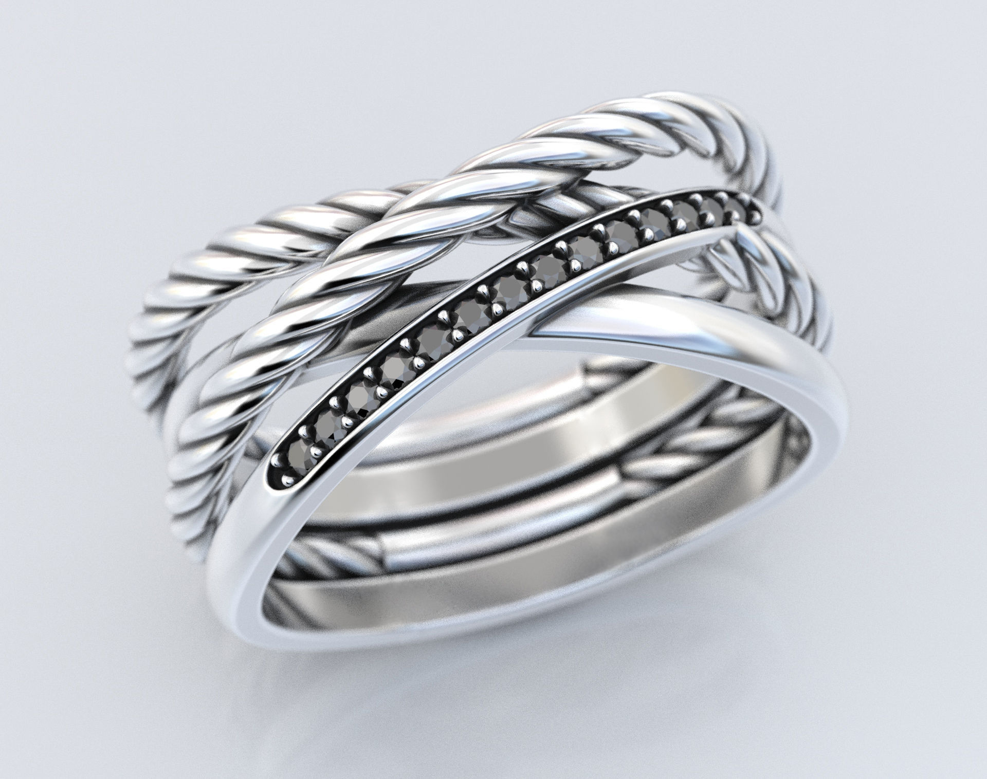 Stylish engagement ring with rope braiding in the form of x