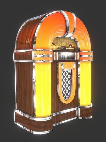 jukebox game ready 3d model low-poly obj mtl fbx 1