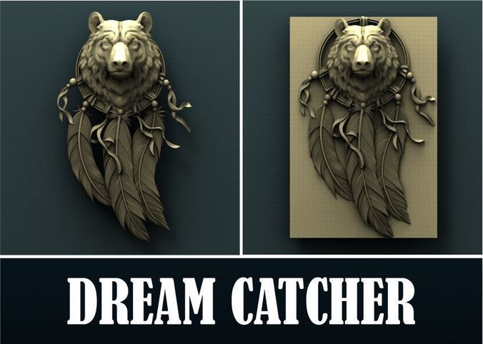 bear dream catcher  3d stl model for cnc 3d model stl 1