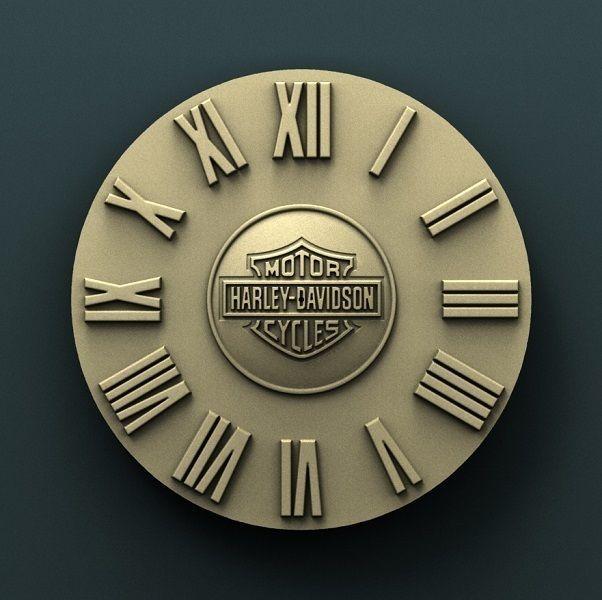 Harley Davidson wall clock  3d stl model for cnc