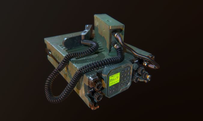 military radio game ready 3d model low-poly obj mtl fbx 1
