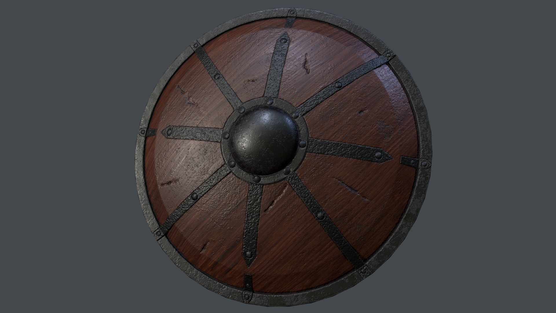 Giant Viking Shield 3d Model Low Poly Obj Mtl Fbx 1