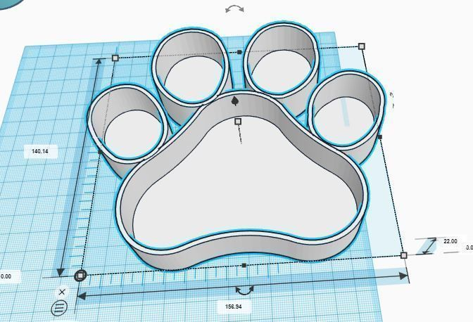 paw print candy bar container 3d model stl 1