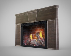 3D model Fireplace with Fire