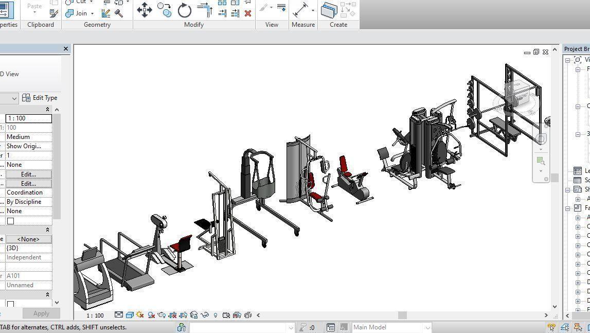 34 Gym models Revit Family 2015   3D model