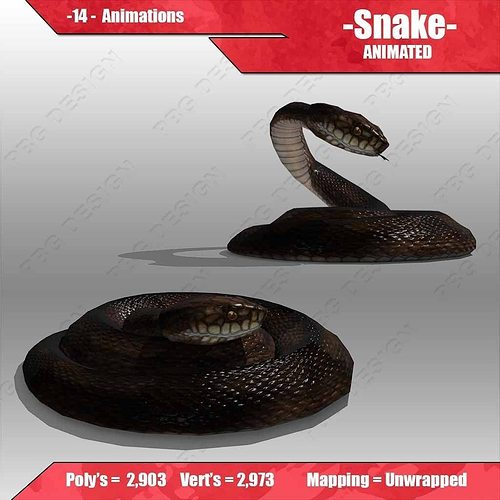 snake animated 3d model rigged animated max fbx 1