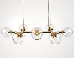 3D model Staggered Glass Chandelier