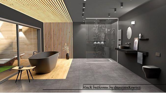 3d Model Black Bathroom Design Vr Ar, Images Of Black Bathrooms