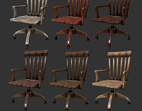 3D asset Antique Wooden Desk Chair Office
