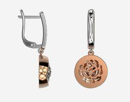 Rose gold diamond earrings 3d print model Drop earrings 1