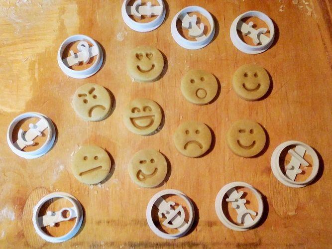 emoticons cookie cutters set 3d model obj mtl 3ds stl 3dm skp ige igs iges 1