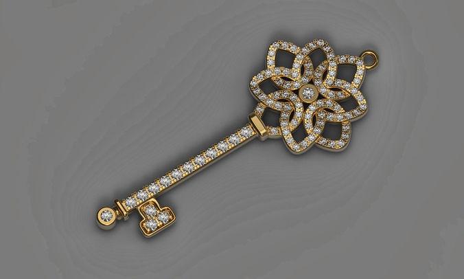 pendant key 3d print model diamonds necklace printable stl 3dm 3d model obj mtl fbx stl 3dm 1