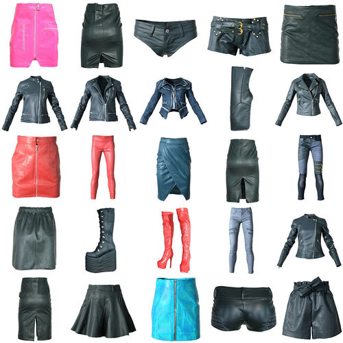 25 shiny clothing items skirts boots jackets trousers 3d model low-poly fbx 1