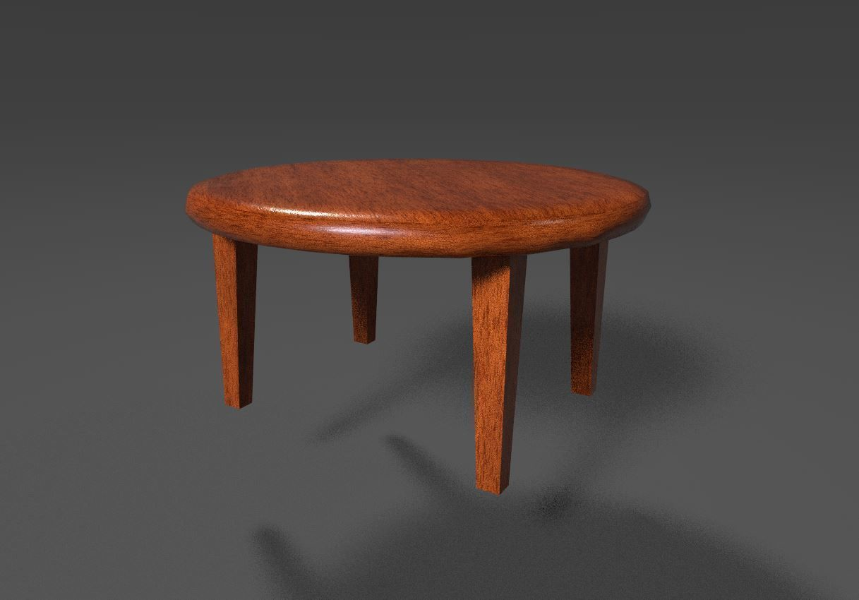 Round Oak wood kitchen table UE4 ready | 3D model