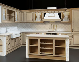 3d country kitchen set