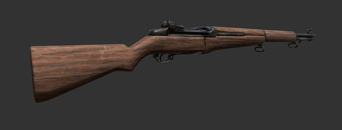 m1 garand rifle 3d model low-poly obj mtl fbx 1