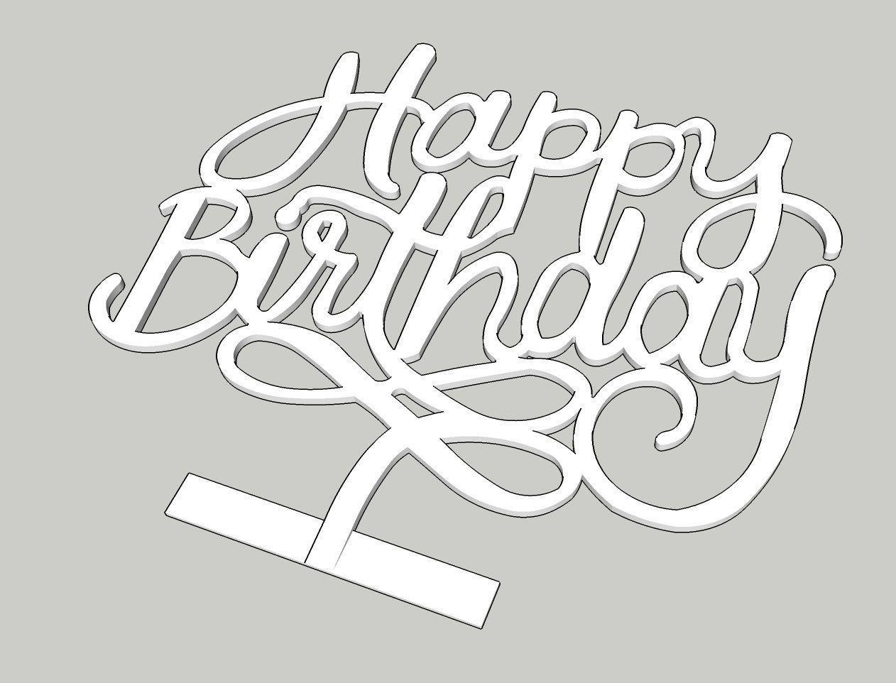 Astounding Happy Birthday Cake Topper 3D Printable Model Cgtrader Funny Birthday Cards Online Elaedamsfinfo